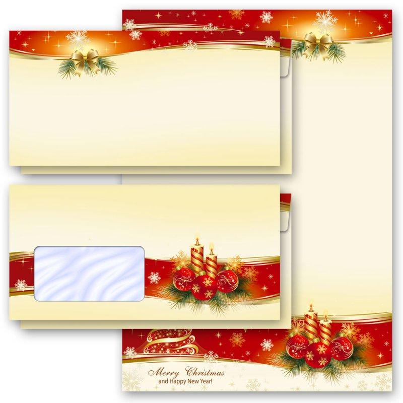 Set DL Motiv-Briefpapier-Set WEIHNACHTSGESCHENKE 20-tlg ohne Fenster
