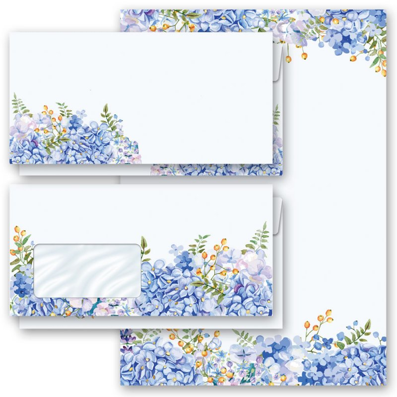 Set DL ohne Fenster Motiv-Briefpapier-Set BLAUE HORTENSIEN 40-tlg