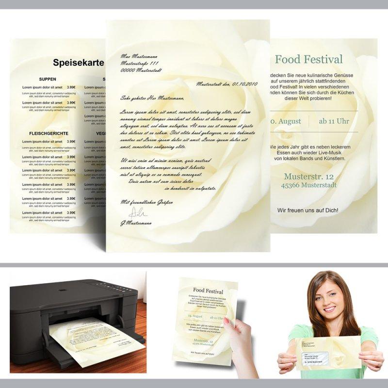 Briefpapier-Sets WEISSE ROSE