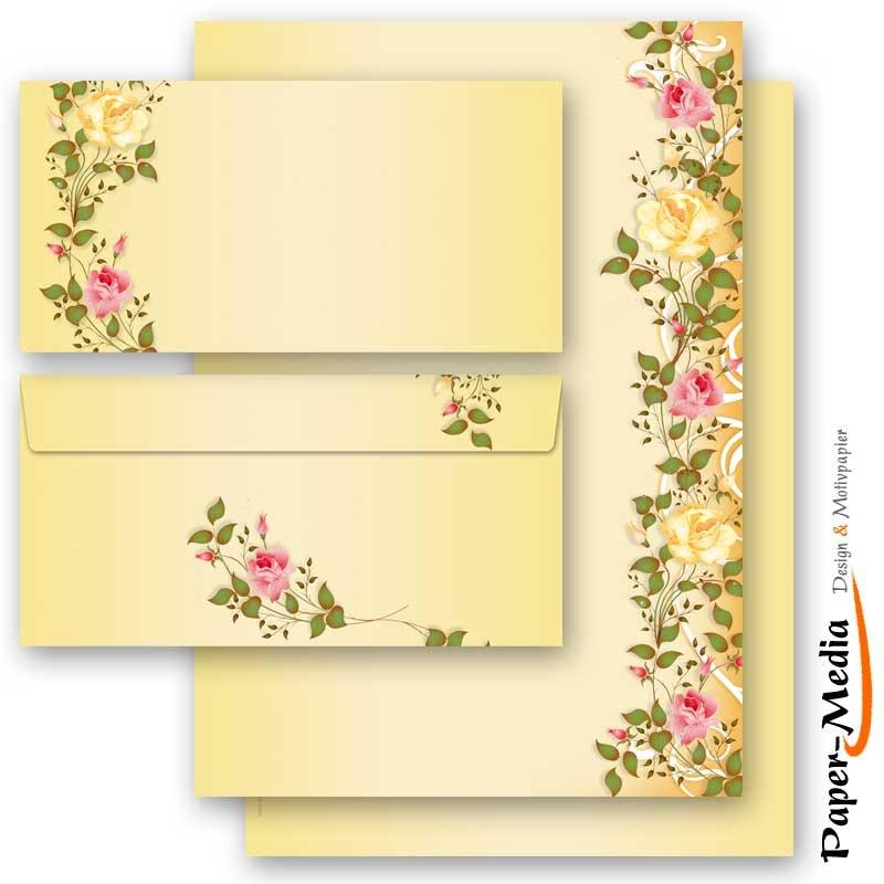 ohne Fenster DL Motiv-Briefpapier-Set MOHNBLUMEN 20-tlg Set