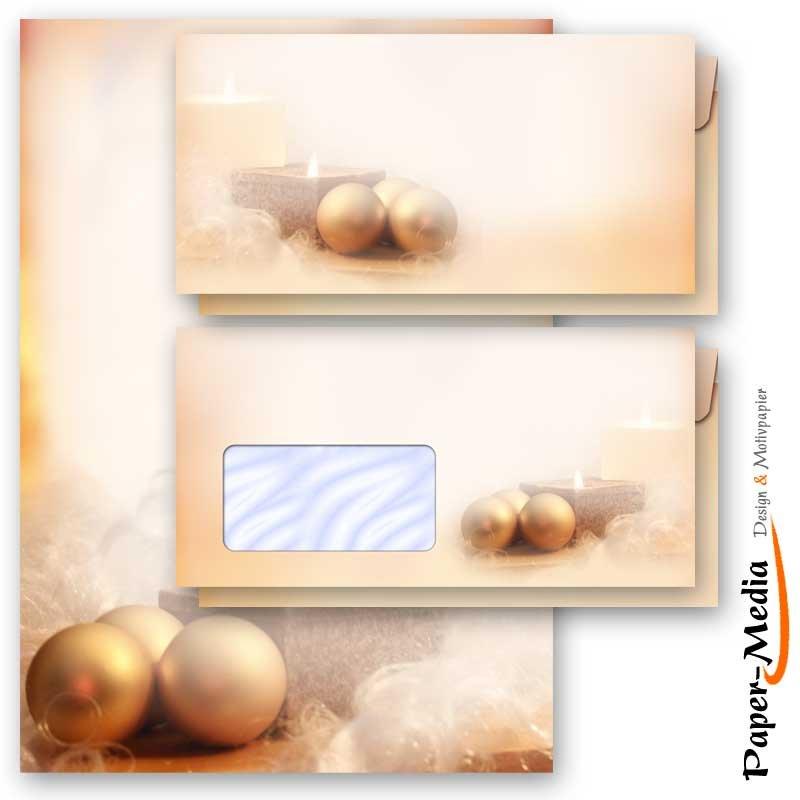 Motiv-Briefpapier-Set BLAUE WEIHNACHTSGESCHENKE 40-tlg ohne Fenster Set DL