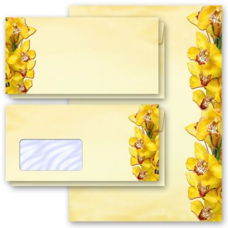 Briefpapier-Sets GELBE ORCHIDEEN