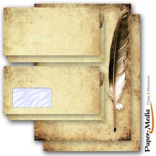 feder auf altem papier motivpapier und briefumschl ge im set. Black Bedroom Furniture Sets. Home Design Ideas
