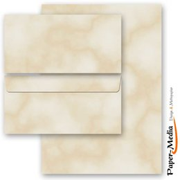 Motiv-Briefpapier-Set MARMOR BEIGE 100-tlg. Set - 50...