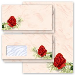 Motiv-Briefpapier-Sets Rosenmotiv ROTE ROSE
