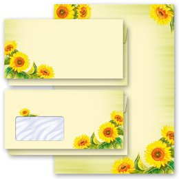 Motiv-Briefpapier-Sets Sommermotiv SUNFLOWERS