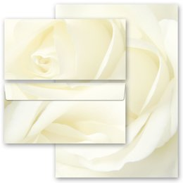 Motiv-Briefpapier-Sets Rosenmotiv WEISSE ROSE